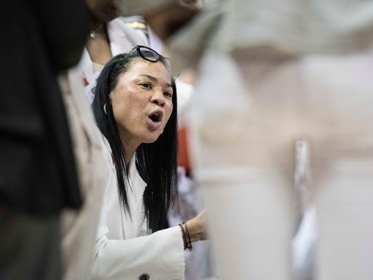 South Carolina head coach Dawn Staley communicates