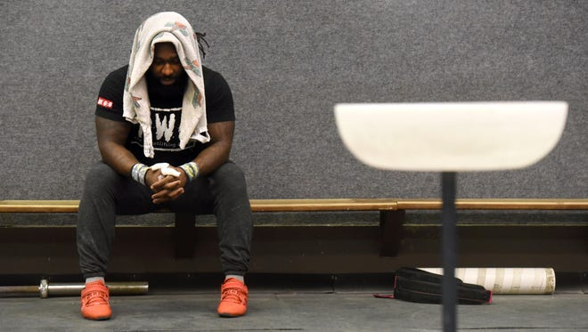 Kendrick Farris pauses after a set during one of his last workouts at LSUS before heading to Rio de Janeiro for the Summer Olympics.
