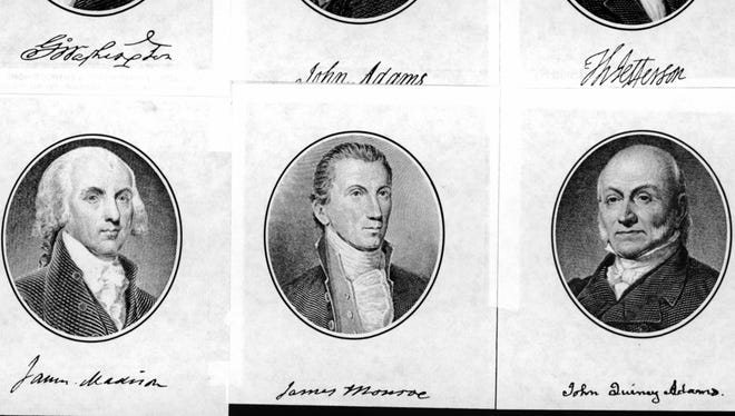 From left, clockwise, Presidents George Washington, John Adams, Thomas Jefferson, James Madison, James Monroe and John Quincy Adams.