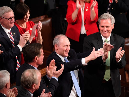 Rep. Steve Scalise, R-La., acknowledges the crowd after being mentioned by President Donald Trump during the State of the Union address on  Jan. 30, 2018 in Washington.