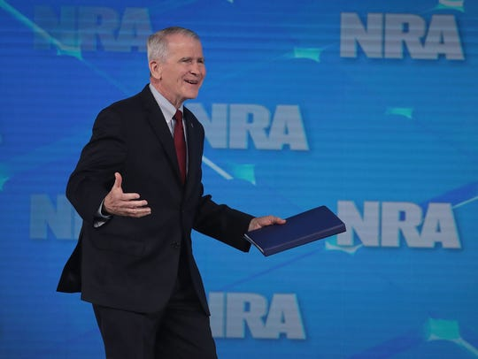 NRA President Oliver North speaks at the NRA-ILA Leadership