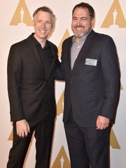 Supervising sound editors Matthew Wood (left) and David Acord attend the 88th annual Academy Awards nominee luncheon on February 8, 2016 in Beverly Hills, California.