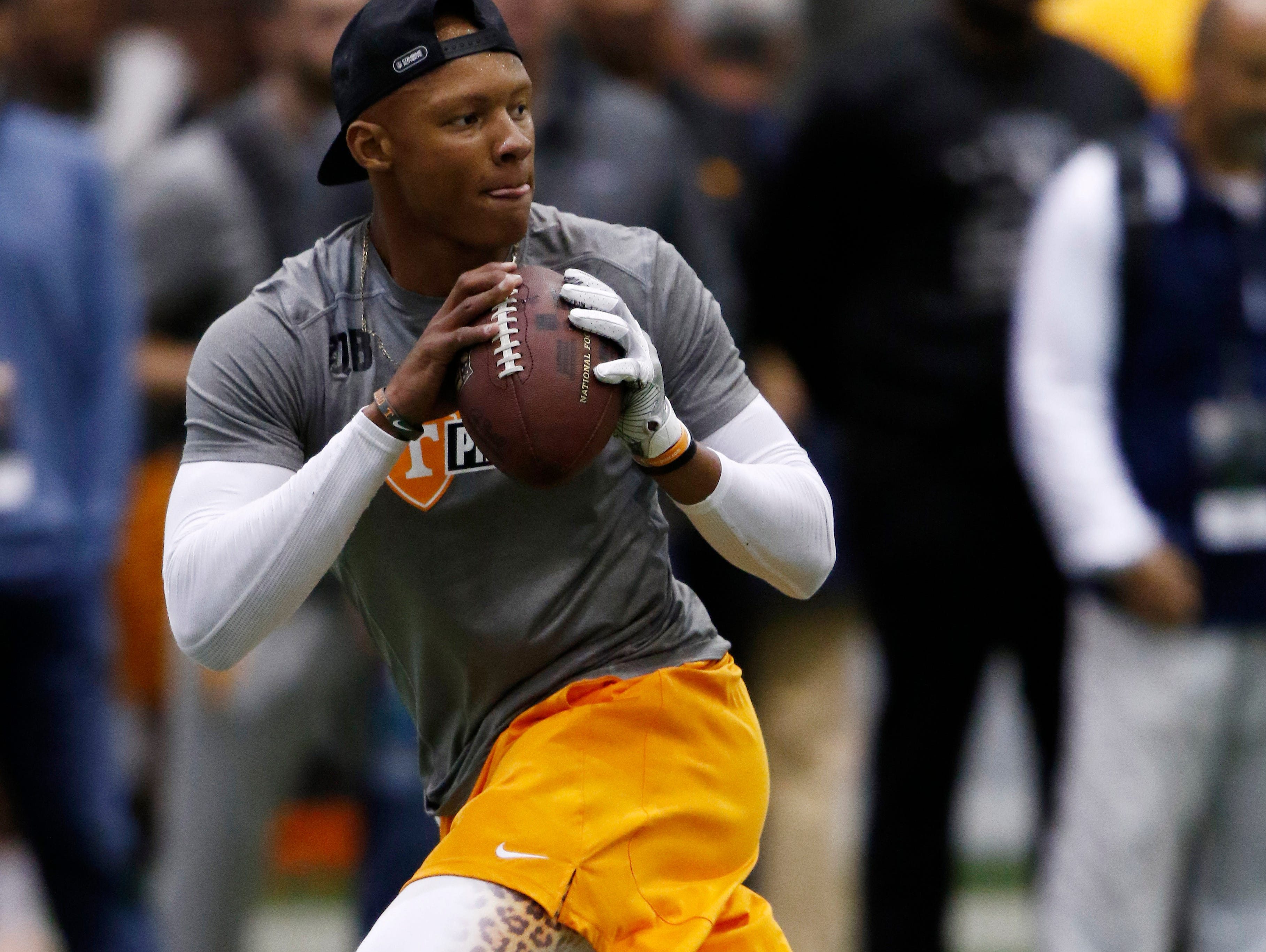 Joshua Dobbs competes during the NFL Pro Day at UT Friday, March 32, 2017 in Knoxville, Tenn.