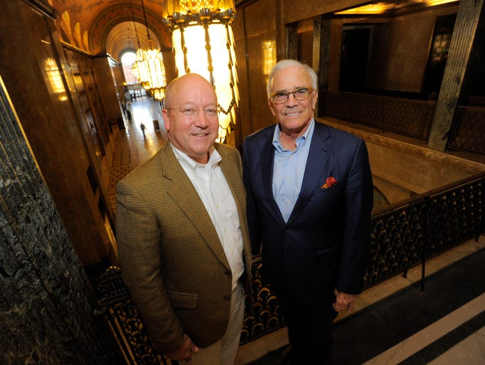 Dietrich Knoer, left, and Peter Cummings unveil plans