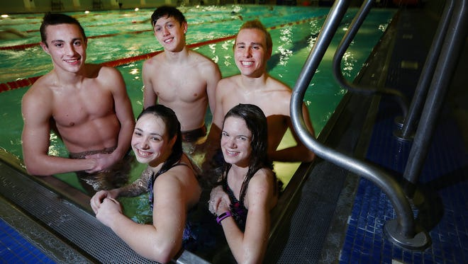 """""""Fast"""" lane swimmers in the Malabar pool are clockwise from top left, Mansfield Senior's Drew Weeks and Coleman Proffitt, St. Peter's Thomas Schlitt, Mansfield Christian's Abby Reynolds,and Mansfield Senior's Grace Haring."""