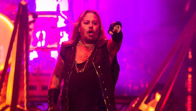 Vince Neil leads Motley Crue in one of the final stops on their farewell tour at Talking Stick Resort Arena in Phoenix.
