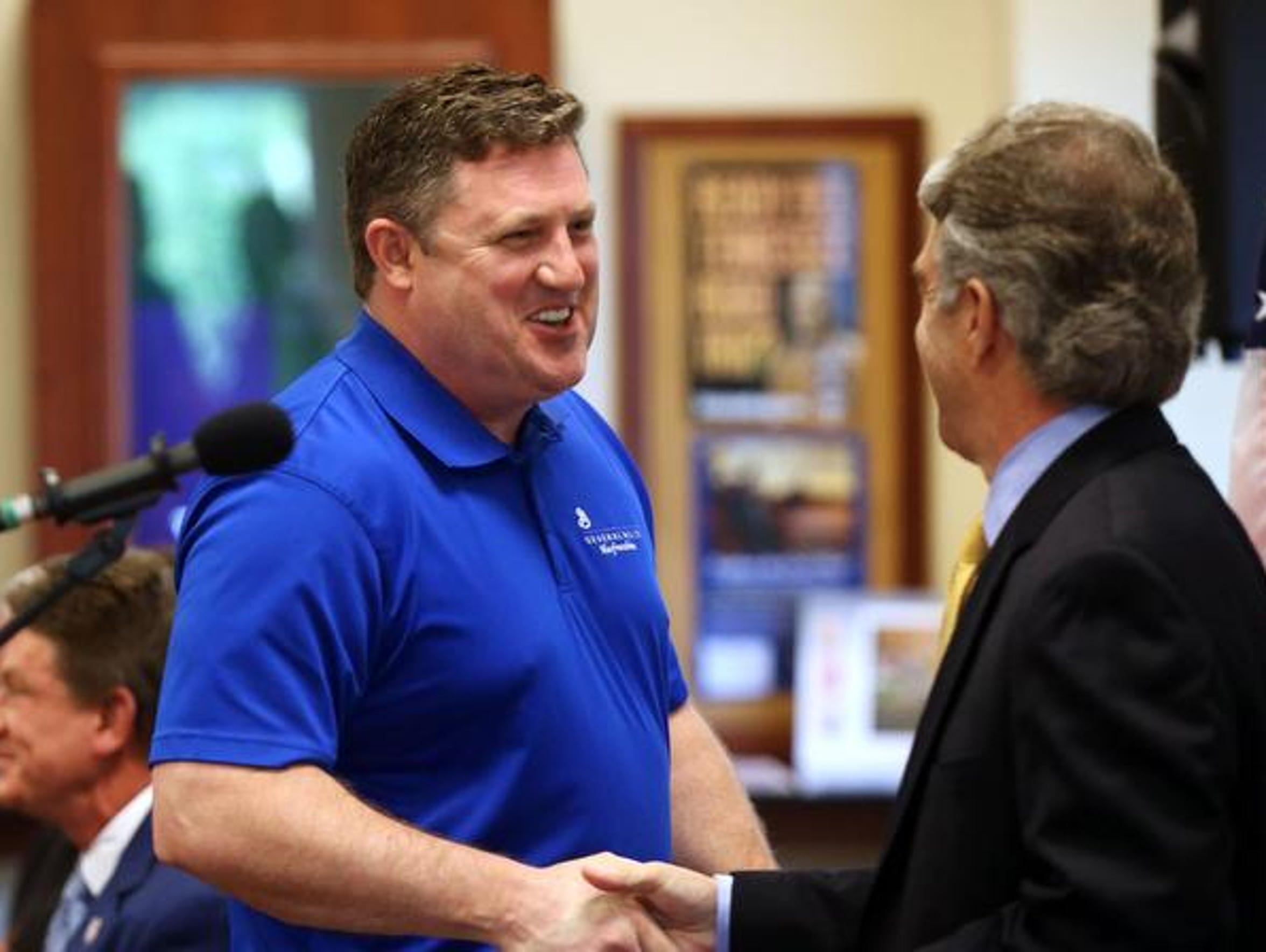 David Tincher, left, plant manager at General Mills'