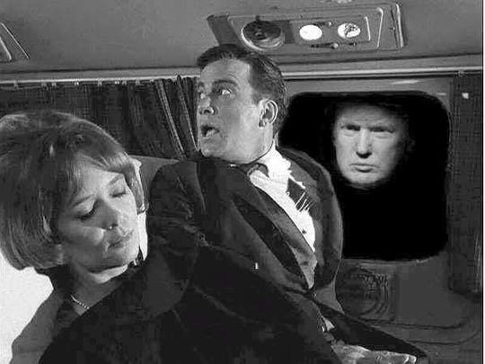 """A meme is floating around the Internet that replcaes the gremlin from the """"Twilight Zone's"""" mug with Donald Trump's."""