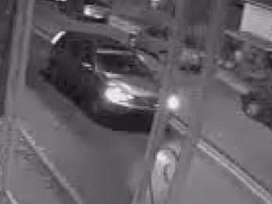 Lebanon police are looking for this vehicle, photographed by a security camera, that is suspected in a hit-and-run crash that critically injured a bicyclist. Police said the bicyclist, a North Lebanon Township resident, is in critical condition in a local hospital. The vehicle is believed to be a silver or light Honda CRV with damage to its right front hood and headlight area.