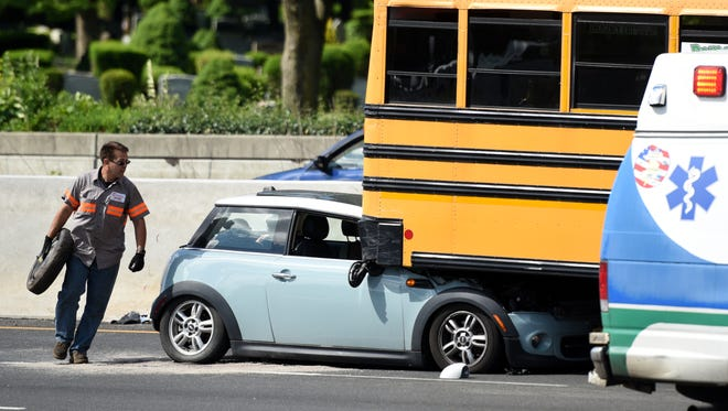A car drove under a school bus carrying kids from Ramapo Country Day Camp on Rt. 4 W near the Hackensack Ave. exit in Hackensack on Monday, June 25, 2018.