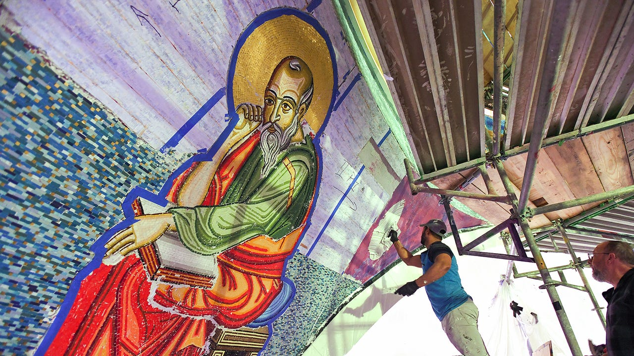 St. George Greek Orthodox Cathedral mosaic installation
