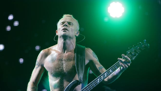 Flea of the Red Hot Chili Peppers performs on the Firefly Stage at the Firefly Music Festival in 2013.