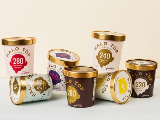 Assortment of pint tubs of Halo Top ice cream.