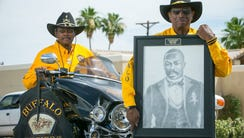 """Buffalo Soldiers Motorcycle Club members Charles """"Chaz"""""""