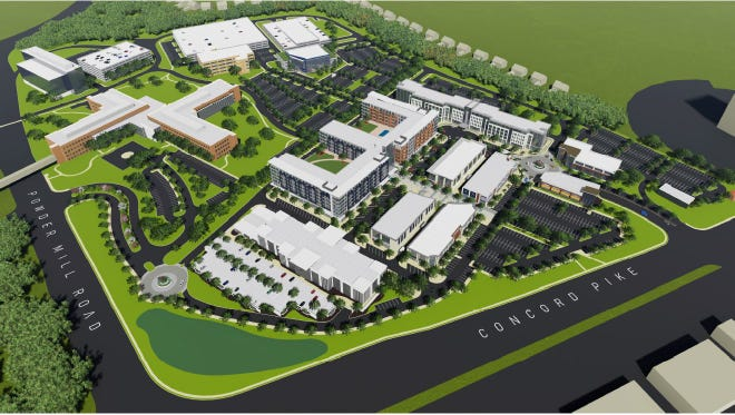 An concept layout of the planned redevelopment of the AstraZeneca property along U.S. 202.