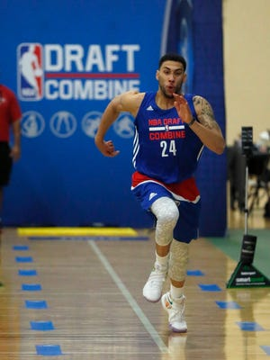 Denzel Valentine, from Michigan State, participates in the NBA draft basketball combine Friday, May 13, 2016, in Chicago. )