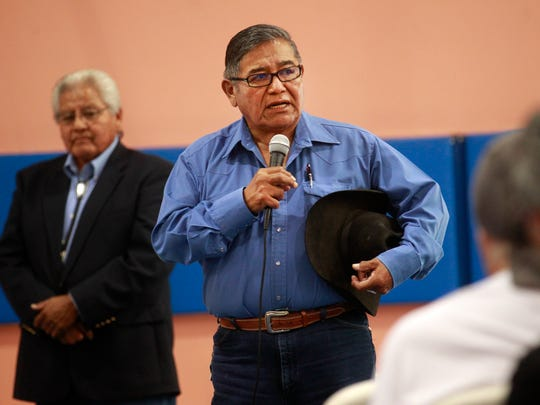 Wallace Charley, a veterans service officer with the Navajo Nation Veterans Administration's Shiprock Office, listens during a town hall meeting Thursday at the Walter Collins Center in Upper Fruitland.