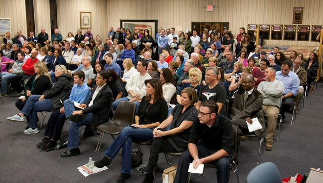 Haverstraw Town Hall during a meeting during which residents questioned officials about the Legoland proposal.