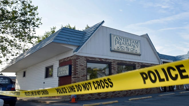 Antietam Pharmacy, 730 South Potomac Street, Waynesboro, is the site of a reported shooting on Monday, June 20, 2016. One man was airlifted form Waynesboro Hospital helipad.