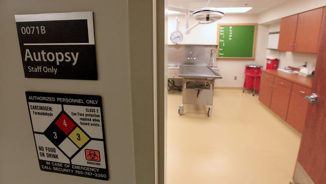 The morgue at IU Health Ball Memorial Hospital is shown in this 2013 photo.