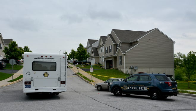 Northeastern Regional Police investigate an early morning shooting in Manchester Borough, Sunday, May 28, 2017. John A. Pavoncello photo