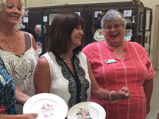 Second Lady Karen Pence, center, visits china painting