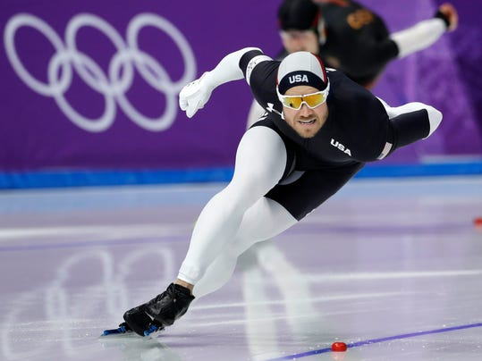 FILE - In this Feb. 23, 2018 file photo, Joey Mantia of the U.S. competes during the men's 1,000 meters speedskating race at the Gangneung Oval at the 2018 Winter Olympics in Gangneung, South Korea. Americans faltered on the Winter Olympic stage, leaving some big questions to address heading toward 2022. Long-track speedskating made off with a single bronze, when it was projected to win at least three medals and had a target of four.  Although Mantia was reigning world champion, he came up about a second short of a bronze medal in the mass start. (AP Photo/Petr David Josek, File)