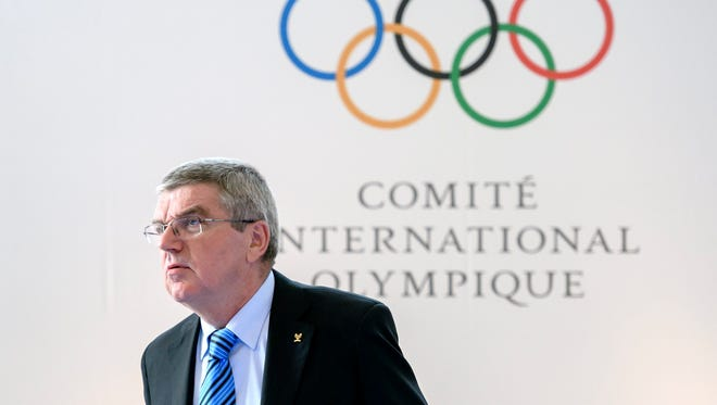 IOC president Thomas Bach looks on at the opening of an Olympic Summit on reforming the anti-doping system.