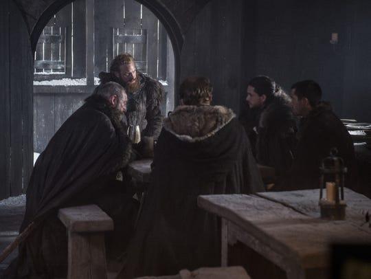 Tormund, Jon, Gendry, Jorah and Davos, ready to go beyond the Wall.