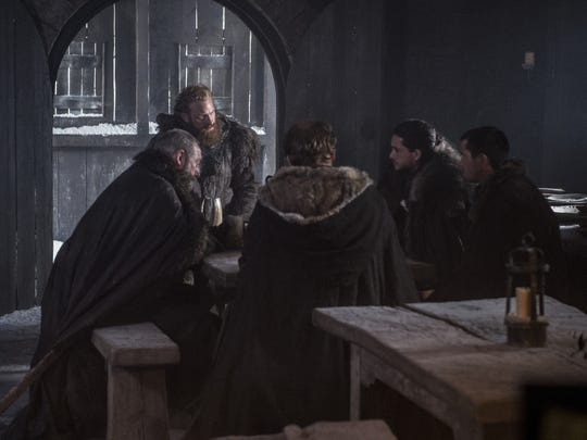 Tormund, Jon, Gendry, Jorah and Davos, ready to go beyond the Wall.