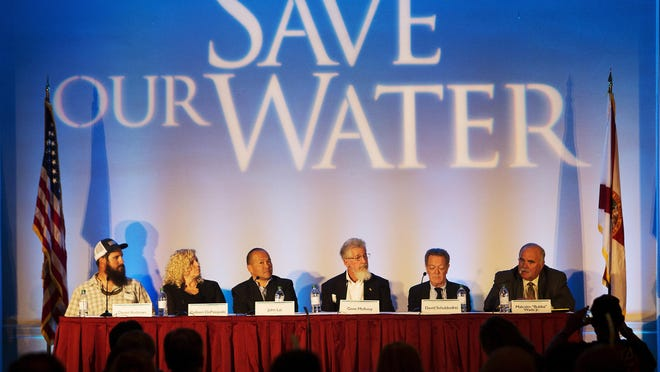 """Daniel Andrews, from left, Colleen DePasquale, John Lai, Gene McAvoy, David Schuldenfrei and Malcom """"Bubba"""" Wade speak as Save Our Water panelists on Wednesday."""