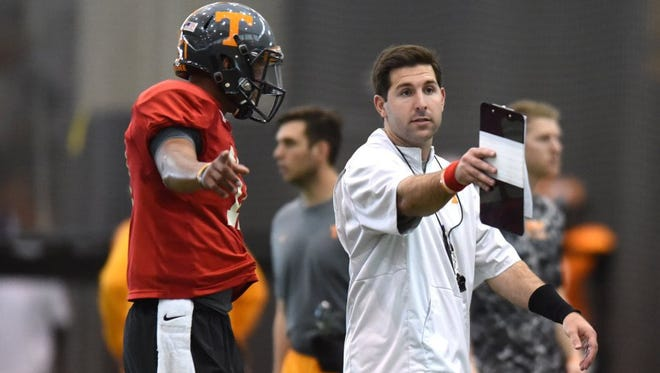 Tennessee offensive quality control Nick Sheridan, right, works with Tennessee quarterback Joshua Dobbs during spring practice on March 31, 2016.