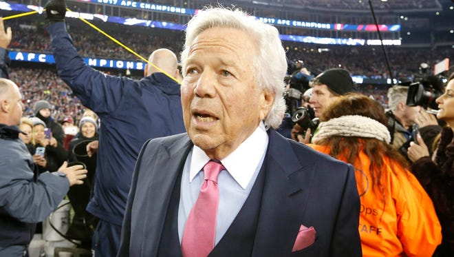 New England Patriots owner Robert Kraft walks off the field after the AFC Championship Game against the Jacksonville Jaguars  at Gillette Stadium.