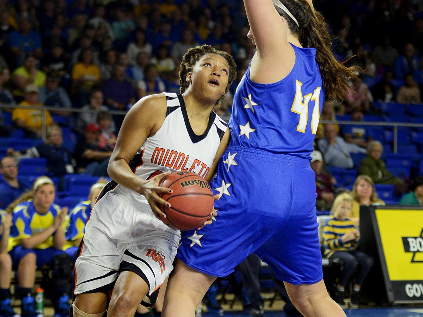 Middleton's Rachelle Parks helped lead the Lady Tigers to the Class A state championship with a 62-50 win over Clarkrange in March.