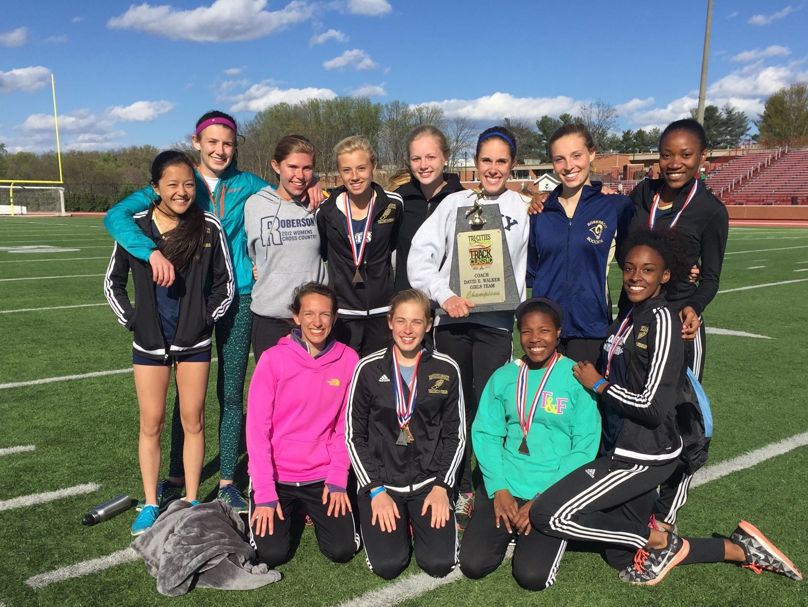 The Roberson girls won Saturday's Tri-Cities Track Classic in Johnson City, Tenn., with just a dozen athletes.