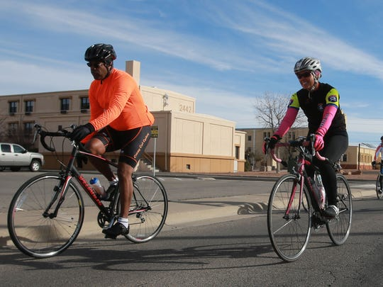 Cyclists take a ride on Fort Bliss.