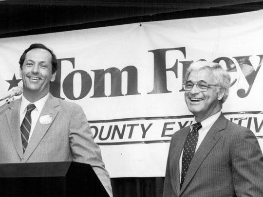 Sen. Bill Bradley of New Jersey helped kick-off Tom Frey's campaign for county executive in Monroe County.