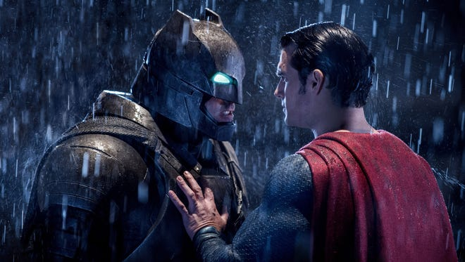 "Ben Affleck's Dark Knight meets Henry Cavill's Man of Steel in ""Batman v Superman: Dawn of Justice."""