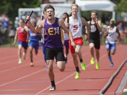 Lexington's Hunter Biddle runs the anchor leg for the winning 4x400 realy team Saturday during the Division II state meet at Jesse Owens Memorial Stadium.