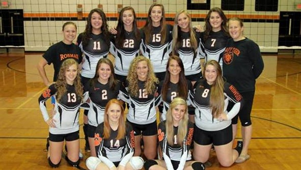 Candace Petit (22) and Rosman won the Big Smoky Mountain Conference volleyball championship in 2013.