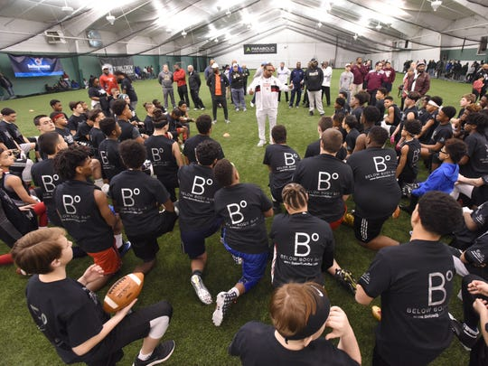 "The ""Gamechangers"" Middle School football Camp at the Sports Domain Academy in Clifton on Saturday, March 17, 2018"