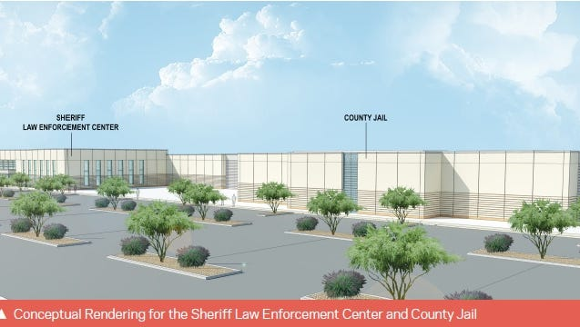 An early HOK rendering shows the new jail and law enforcement center. The LEC advisory group met Thursday to review the latest design plan. Construction on the building is set to begin July 16.