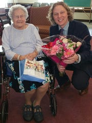 PA State Rep.Kevin Schreiber visitsBirdie Miller on her 100th birthday, in a celebration organized byColonial Manor staff.