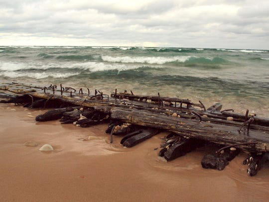 The bilge keelson from a shipwreck that historians believe is the schooner Jennie and Annie, which sunk in the Manitou Passage in 1872. The fragment appeared on the Sleeping Bear Dunes shoreline north of Empire in Leelanau County in 2012.