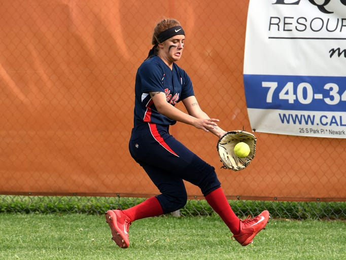 Licking Valley outfielder Lauryn Greer nabs a ball