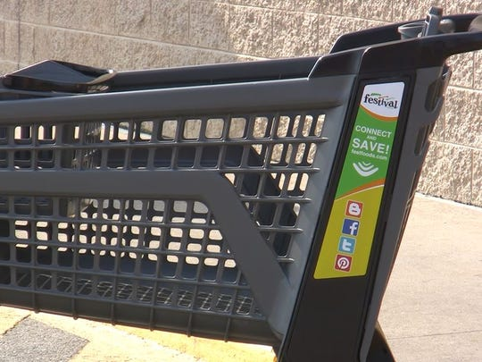 The full-size shopping carts was one of two new designs unveiled Thursday at Festival Foods in De Pere.