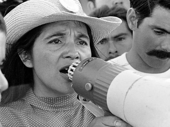 United Farmworkers Union leader Dolores Huerta leads