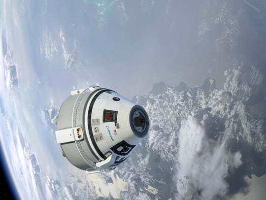 Shown is an artist's rendering of Boeing's Starliner