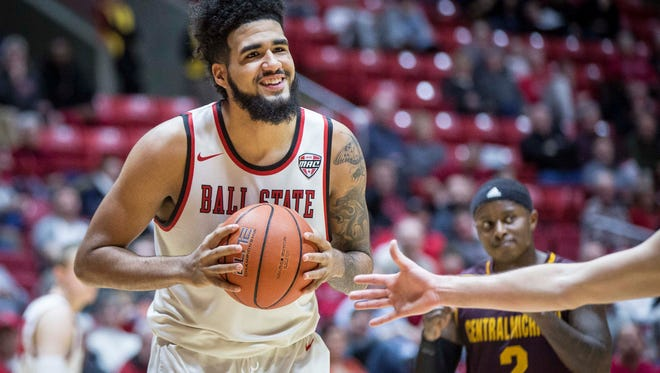 Ball State's Trey Moses looks over to the referees after a foul call Tuesday night in the game against Central Michigan at Worthen Arena. Ball State won the game 98-83.