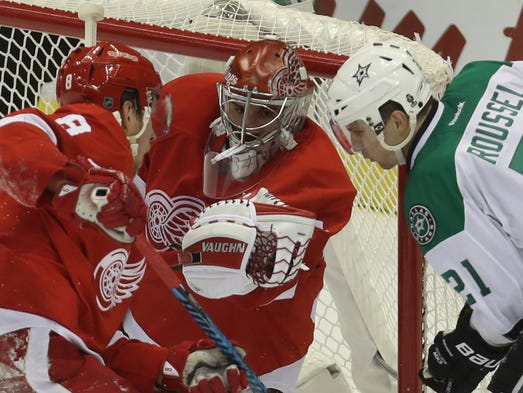 Red Wings goalie Petr Mrazek makes a save against the